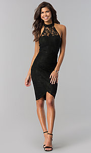 Image of short semi-formal halter party dress in lace. Style: MD-D14994BXL Detail Image 1