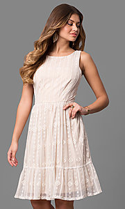 Embroidered Ivory Short Graduation Dress