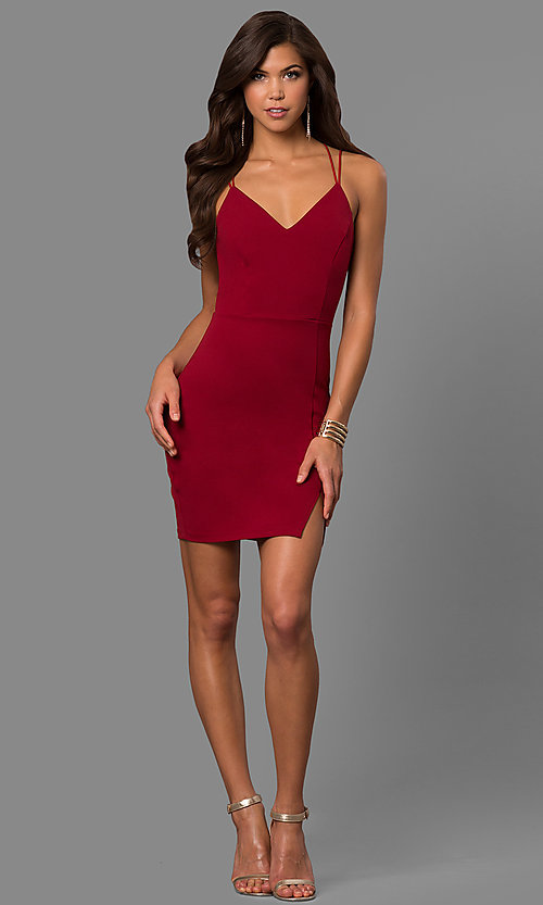 Image of short spandex party dress with multi-strap open back. Style: SY-ID4583VP Detail Image 1