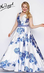 Long Print A-Line V-Neck Plus Size Prom Dress