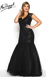 Plus Size Lace and Tulle V-Neck Prom Dress