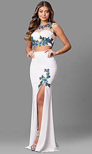 Long Off-White Two-Piece Prom Dress