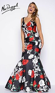 Rose Print Plus Size Prom Dress with Removable Skirt