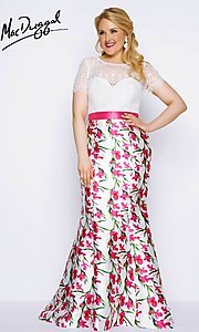 Plus Size Illusion Sweetheart Prom Dress with Sleeves
