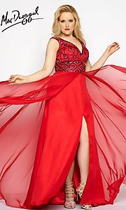 V-Neck Chiffon Plus Size Prom Dress with Beaded Bodice
