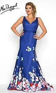 Blue Floral Print Open Back Plus Size Prom Dress