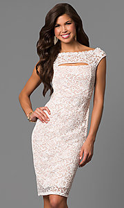 Knee-Length Off-the-Shoulder Lace Wedding Guest Dress