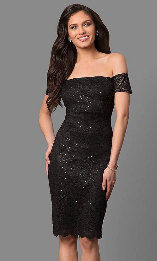 Image of sequined-lace off-the-shoulder short party dress. Style: MB-7161 Detail Image 1
