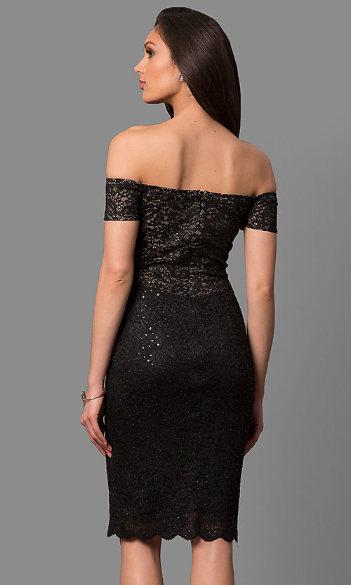 Image of sequined-lace off-the-shoulder short party dress. Style: MB-7161 Back Image