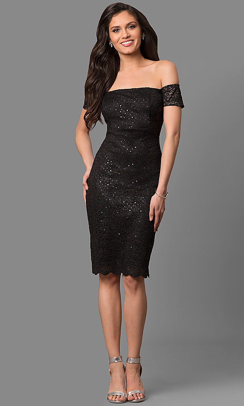 Image of sequined-lace off-the-shoulder short party dress. Style: MB-7161 Detail Image 2