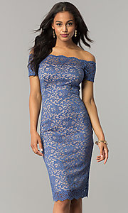 Image of off-the-shoulder knee-length lace party dress. Style: MB-7164 Detail Image 2