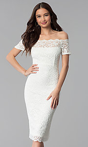 Image of off-the-shoulder knee-length lace party dress. Style: MB-7164 Front Image