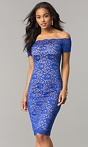 Image of off-the-shoulder knee-length lace party dress. Style: MB-7164 Detail Image 3