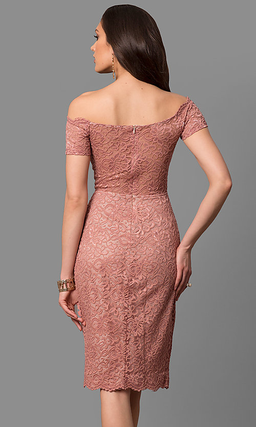 Image of off-the-shoulder knee-length lace party dress. Style: MB-7164 Back Image