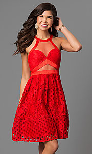 Image of short eyelet-lace party dress with racerback bodice. Style: LP-27036 Front Image