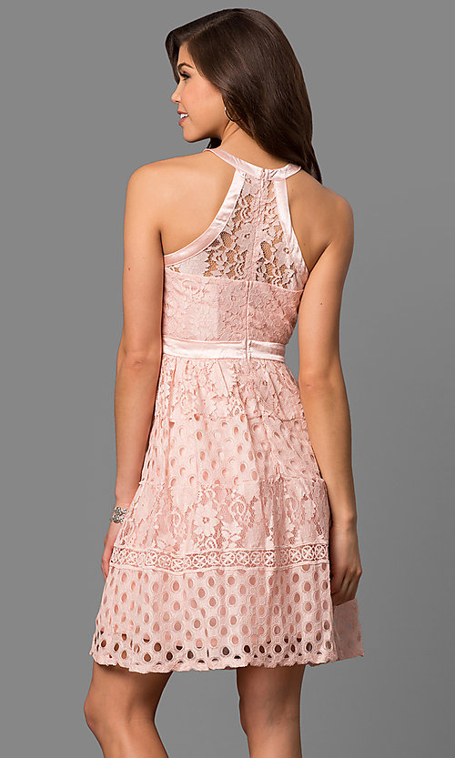 Image of short eyelet-lace party dress with racerback bodice. Style: LP-27036 Back Image