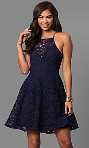 Image of short cheap a-line lace semi-formal party dress.  Style: LP-27005 Front Image