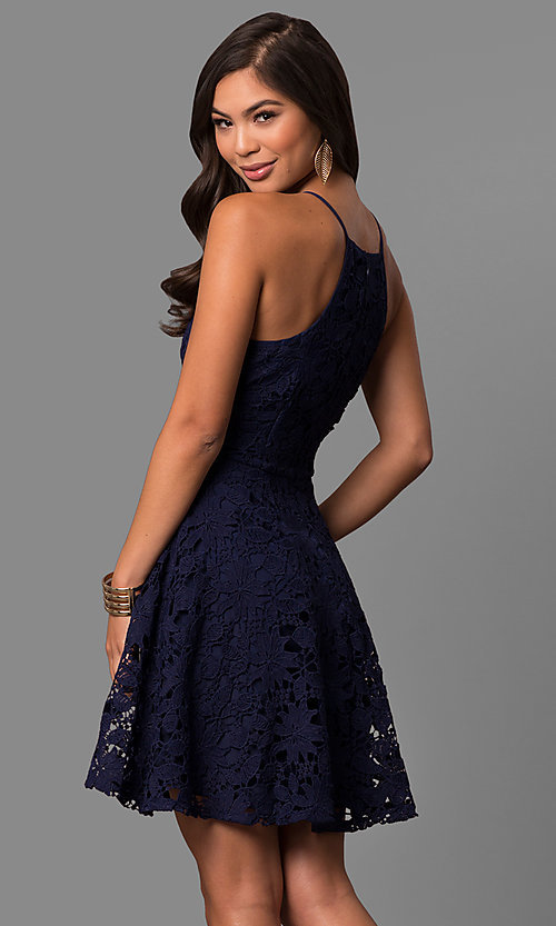 Image of short cheap a-line lace semi-formal party dress.  Style: LP-27005 Back Image