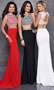 Long High Scoop Neck Jersey Two Piece Prom Dress