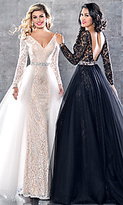 Long Lace V-Neck Prom Dress with an Overskirt