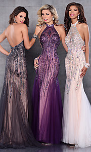 Long Beaded Mock Neck Halter Prom Dress