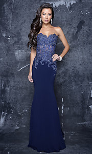 Long Strapless Prom Dress with Embroidery Embellished Illusion Bodice