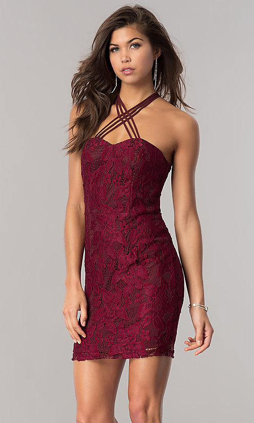 Image of lace homecoming short party dress in wine red. Style: SS-D67271H439 Front Image