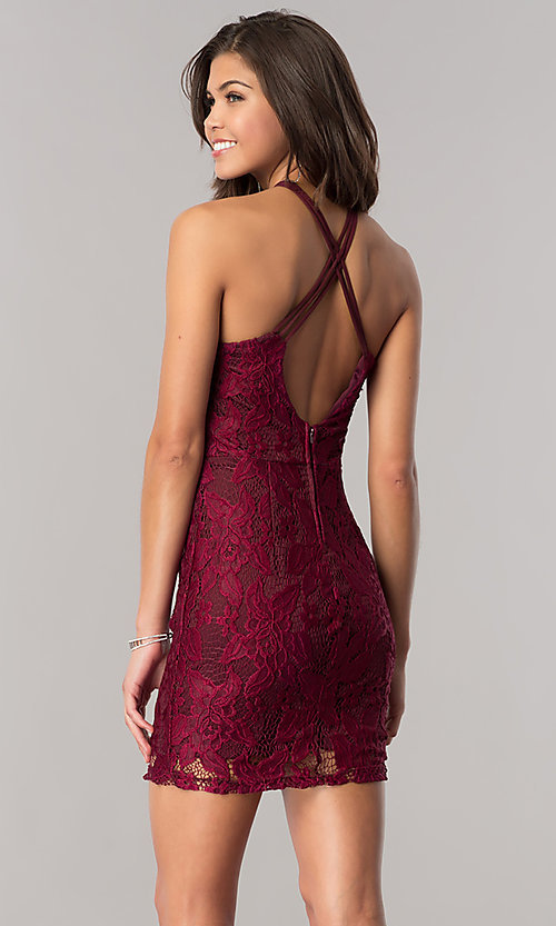 Image of lace homecoming short party dress in wine red. Style: SS-D67271H439 Back Image