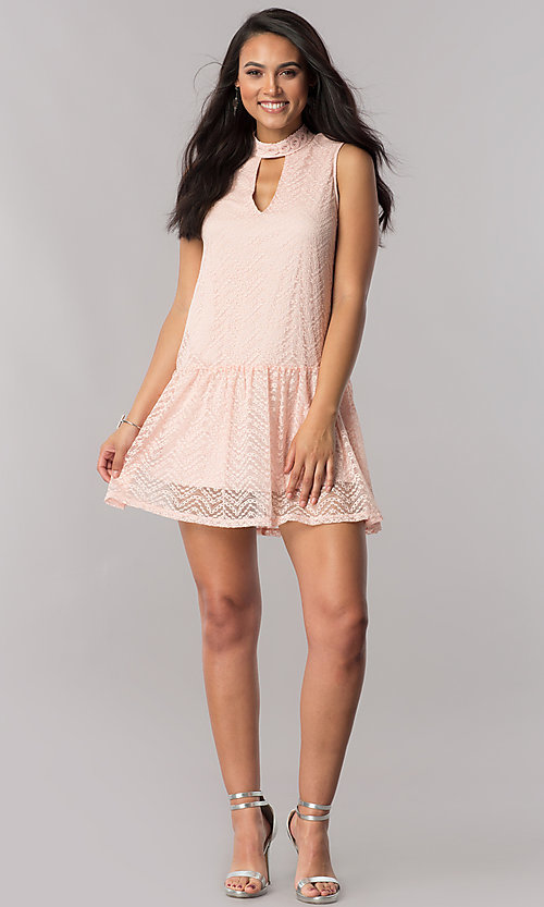 Image of short lace casual party dress with drop waistline. Style: SS-JA28961H577 Detail Image 1