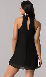 Image of black chiffon short shift party dress with collar. Style: SS-JA89502CJ8 Back Image