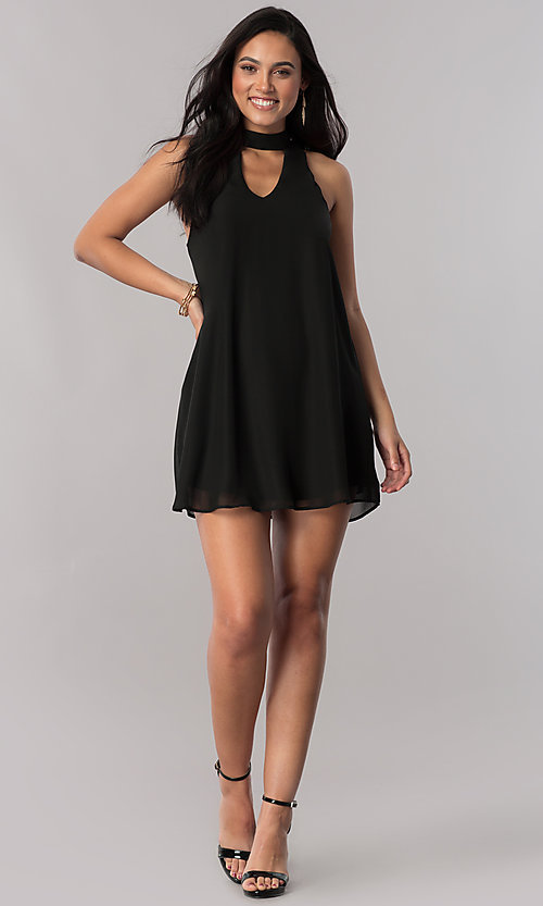 Image of black chiffon short shift party dress with collar. Style: SS-JA89502CJ8 Detail Image 1