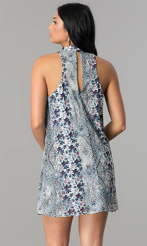 Image of short party dress with ivory and light blue print. Style: SS-JA89508C830 Back Image