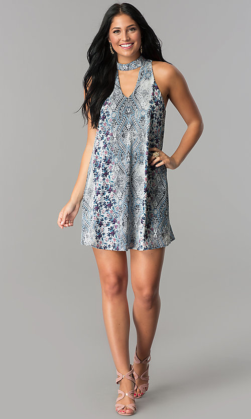 Image of short party dress with ivory and light blue print. Style: SS-JA89508C830 Detail Image 1