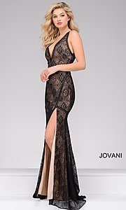 Deep V-Neck Lace Prom Dress with an Open Back