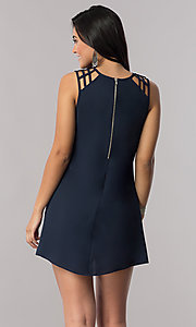 Image of dark navy short shift party dress with cut outs. Style: SS-JA91483C71 Back Image