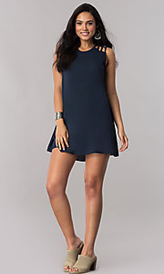 Image of dark navy short shift party dress with cut outs. Style: SS-JA91483C71 Detail Image 1