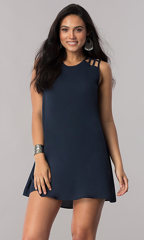 Image of dark navy short shift party dress with cut outs. Style: SS-JA91483C71 Front Image