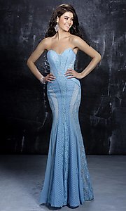 Strapless Long Prom Dress with Lace Detail by Nina Canacci