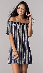 Image of short striped off-the-shoulder shift casual dress. Style: SS-JA87724LNN Front Image
