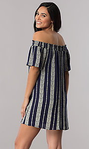 Image of short striped off-the-shoulder shift casual dress. Style: SS-JA87724LNN Back Image