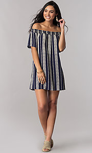 Image of short striped off-the-shoulder shift casual dress. Style: SS-JA87724LNN Detail Image 1