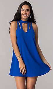 Image of short royal blue shift party dress with cut outs. Style: SS-JA91611GKW Front Image