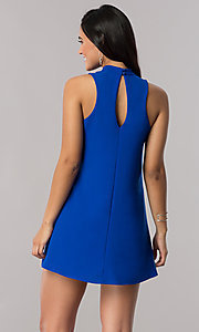 Image of short royal blue shift party dress with cut outs. Style: SS-JA91611GKW Back Image