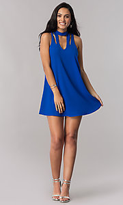 Image of short royal blue shift party dress with cut outs. Style: SS-JA91611GKW Detail Image 1