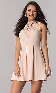 Short Casual Party Dress with Lace High Neckline