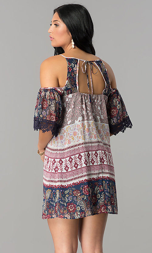 Image of cold-shoulder short shift casual party dress. Style: SS-JA92381CB60 Back Image