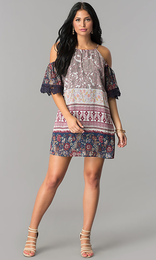 Image of cold-shoulder short shift casual party dress. Style: SS-JA92381CB60 Detail Image 1