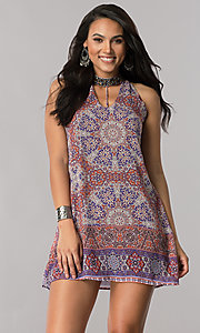 Short Mandala Print Shift Party Dress
