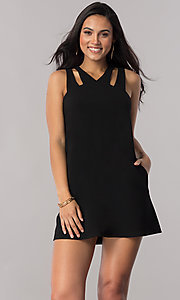 Image of short shift casual party dress with pockets. Style: SS-JA92461GKW Front Image