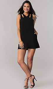 Image of short shift casual party dress with pockets. Style: SS-JA92461GKW Detail Image 1